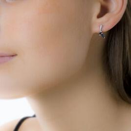 Boucles D'oreilles Pendantes Navette Or Blanc Saphir - Boucles d'oreilles pendantes Femme   Histoire d'Or