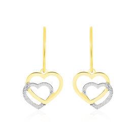 Boucles D'oreilles Pendantes Double Coeur Satines Or Bicolore - Boucles d'Oreilles Coeur Femme   Histoire d'Or