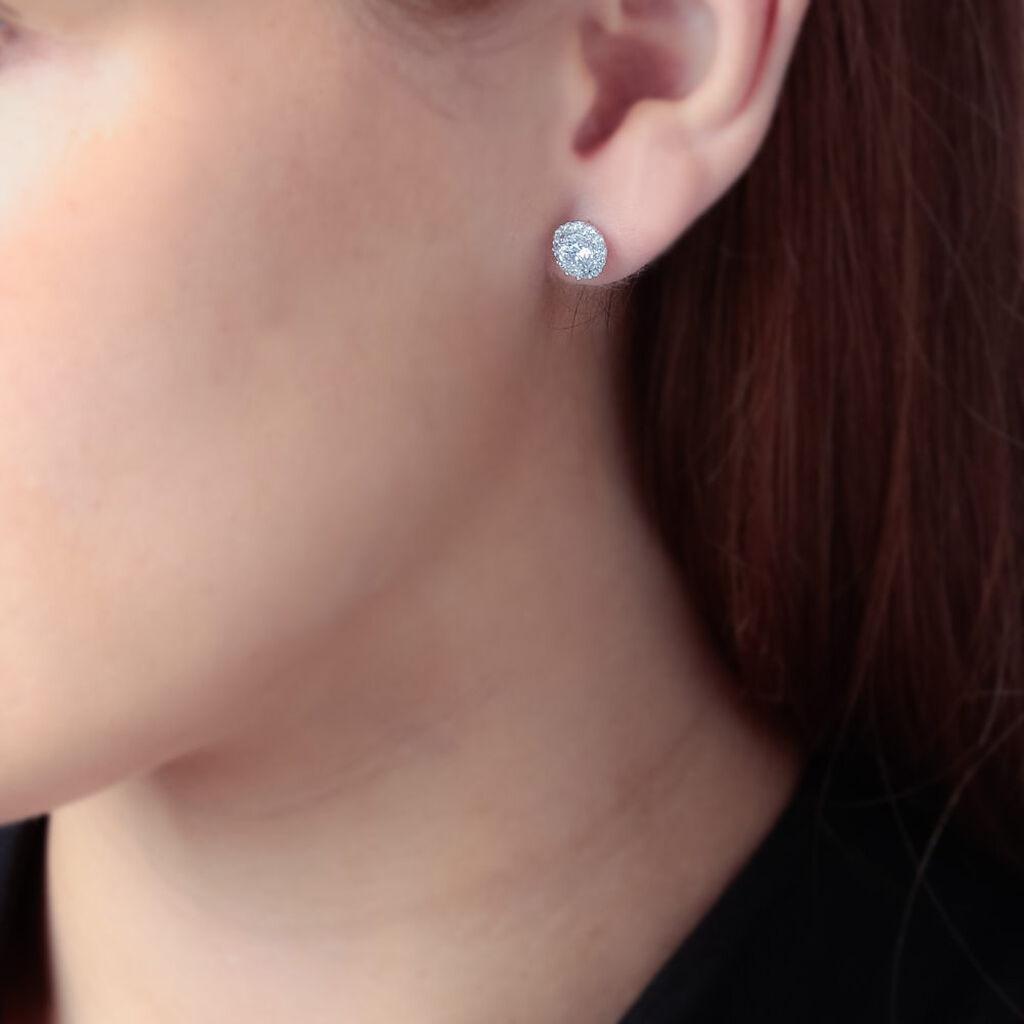 Boucles D'oreilles Puces Eternite Argent Blanc Oxyde De Zirconium - Boucles d'oreilles fantaisie Femme   Histoire d'Or