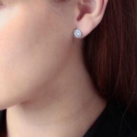 Boucles D'oreilles Puces Eternite Argent Blanc Oxyde De Zirconium - Boucles d'oreilles fantaisie Femme | Histoire d'Or