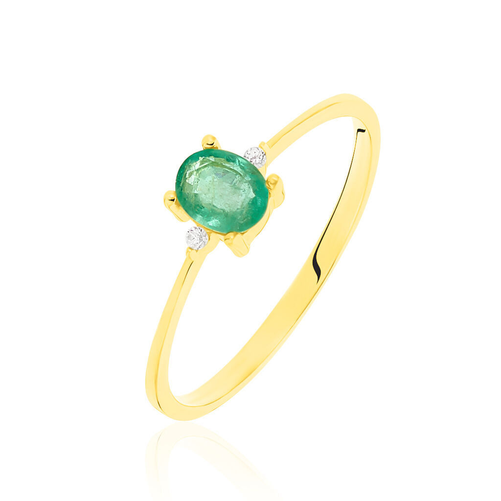 Bague Janah Or Jaune Emeraude Et Diamant