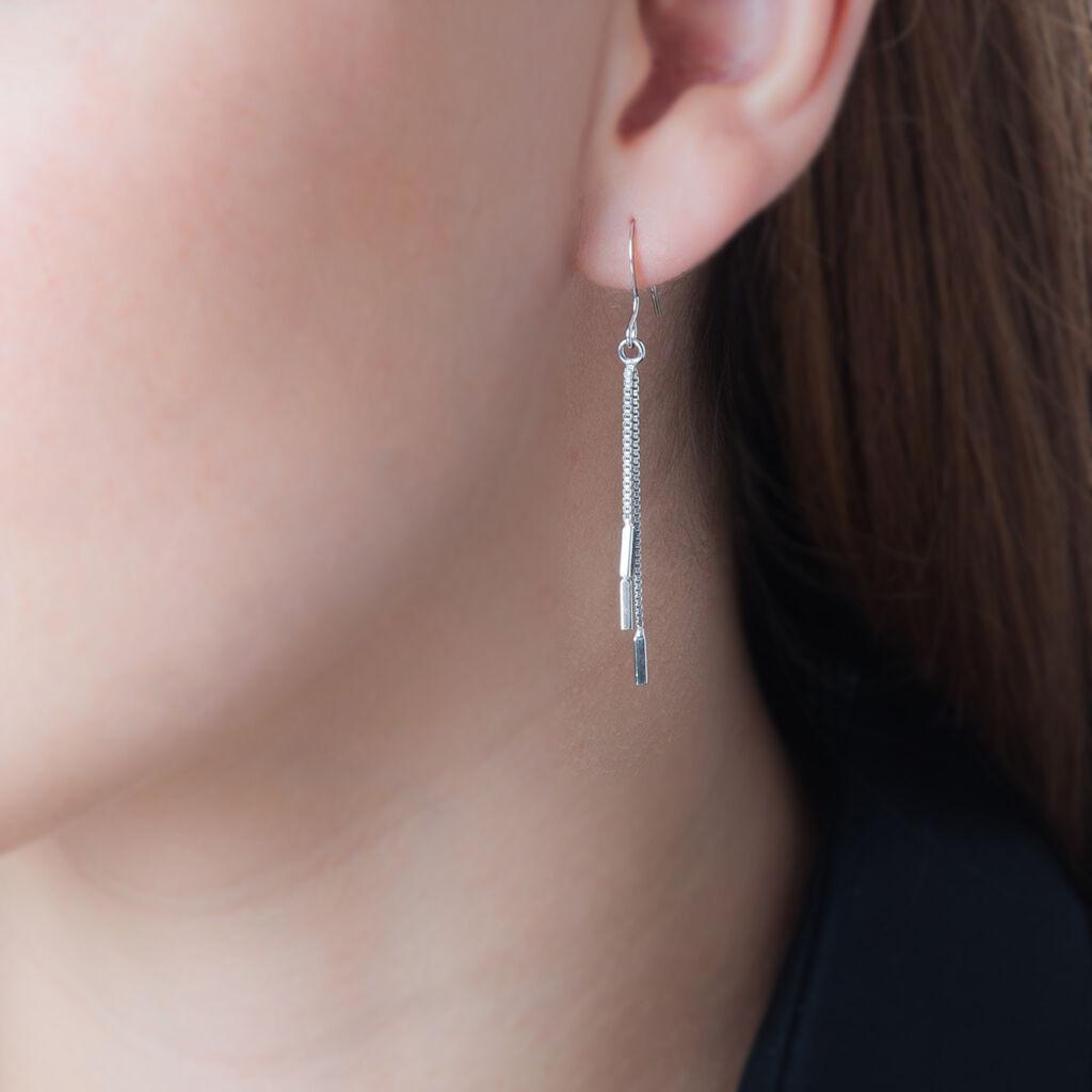 Boucles D'oreilles Pendantes Ginevra Argent Blanc - Boucles d'oreilles fantaisie Femme | Histoire d'Or