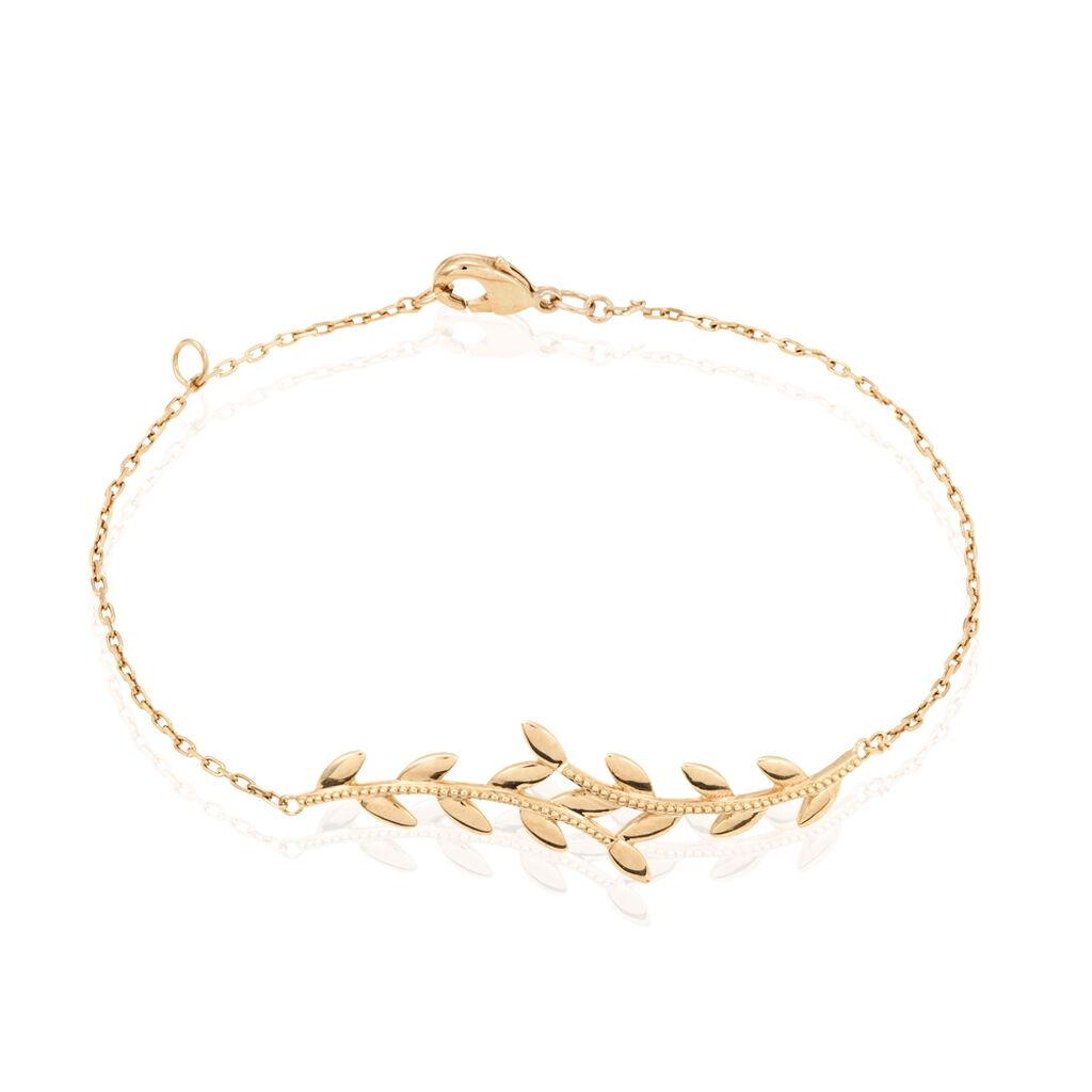 Bracelet Folia Plaque Or Jaune - Bracelets Plume Femme | Histoire d'Or