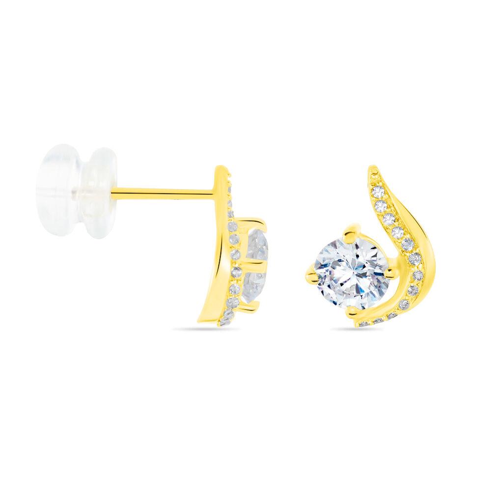Boucles D'oreilles Puces Sevde Or Jaune Oxyde De Zirconium - Clous d'oreilles Femme   Histoire d'Or