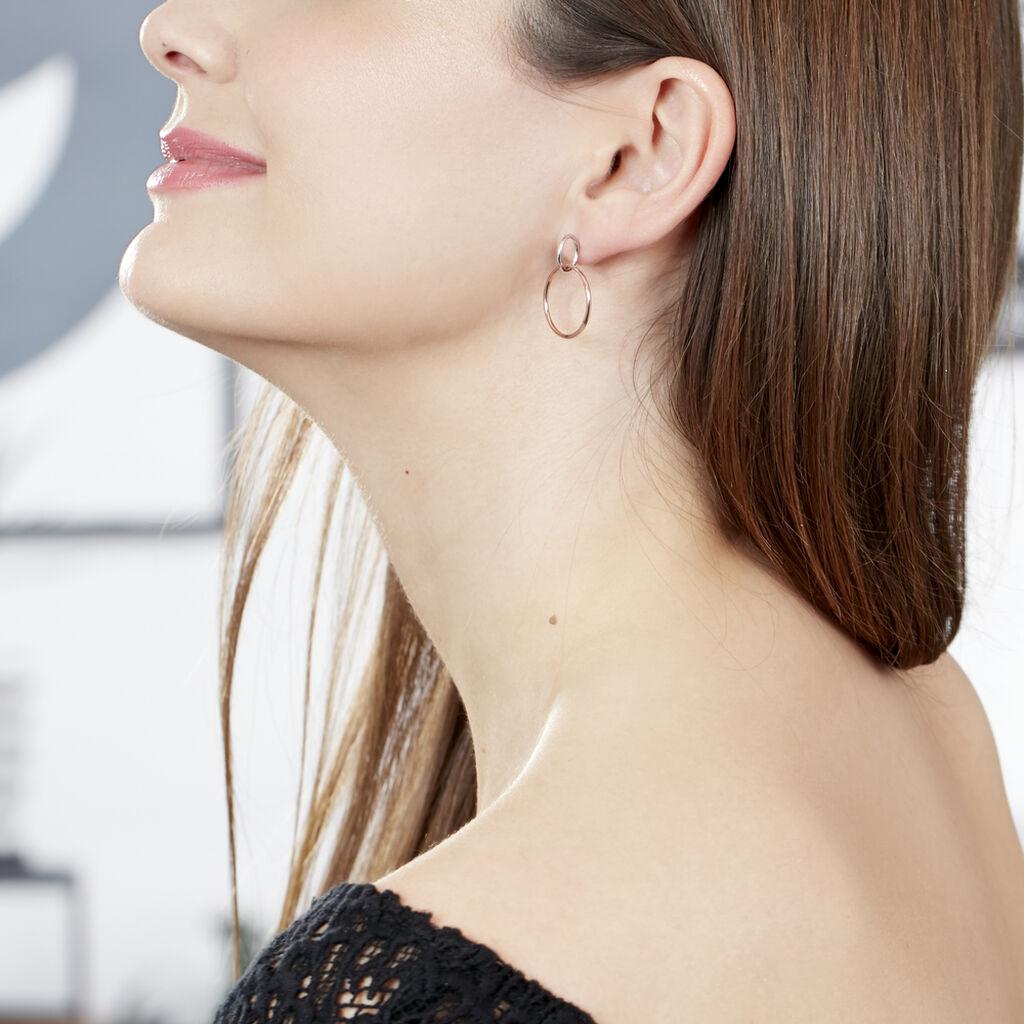 Boucles D'oreilles Pendantes Maneiza Argent Bicolore - Boucles d'oreilles fantaisie Femme | Histoire d'Or
