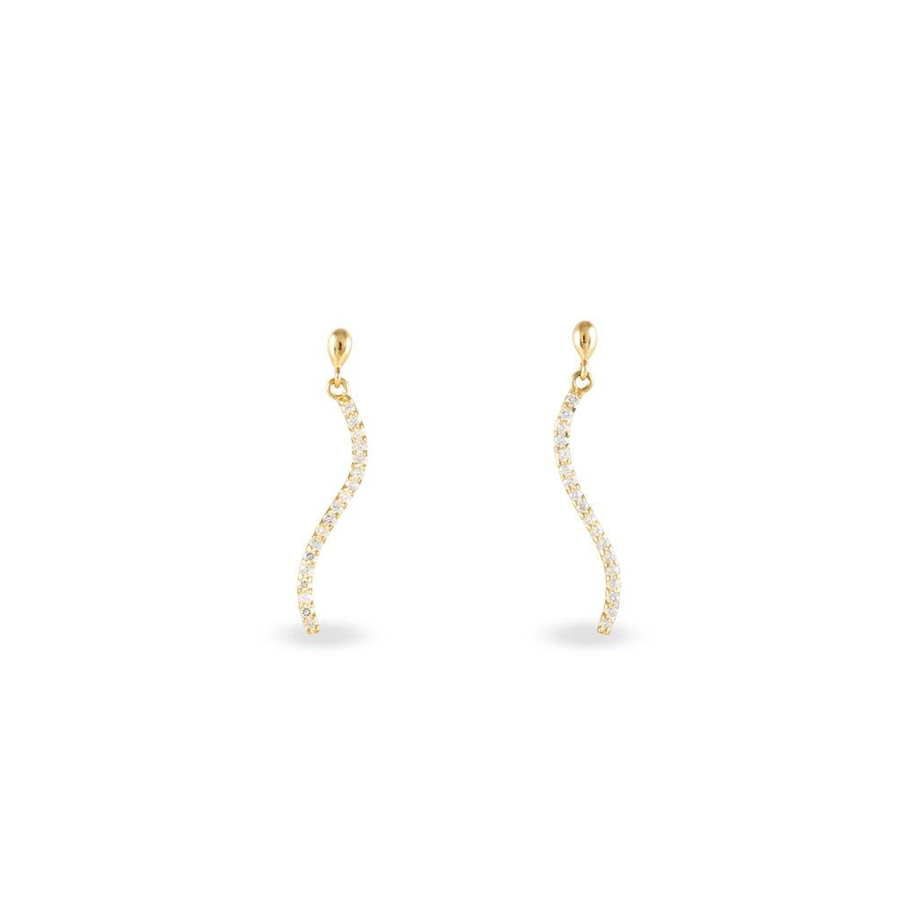 Boucles D'oreilles Pendantes Honoree Or Jaune Oxyde De Zirconium - Boucles d'oreilles pendantes Femme | Histoire d'Or