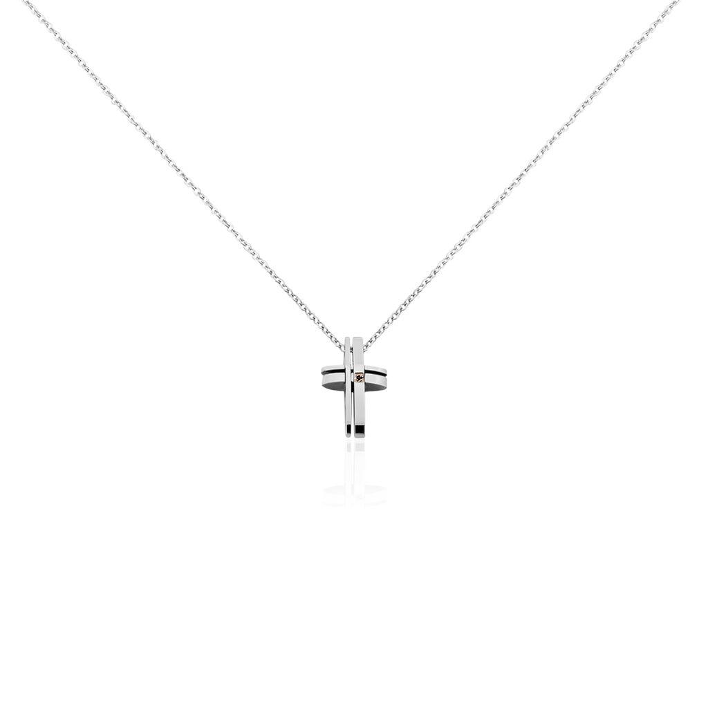 Collier Ruya Acier Blanc Oxyde De Zirconium - Colliers Croix Homme   Histoire d'Or