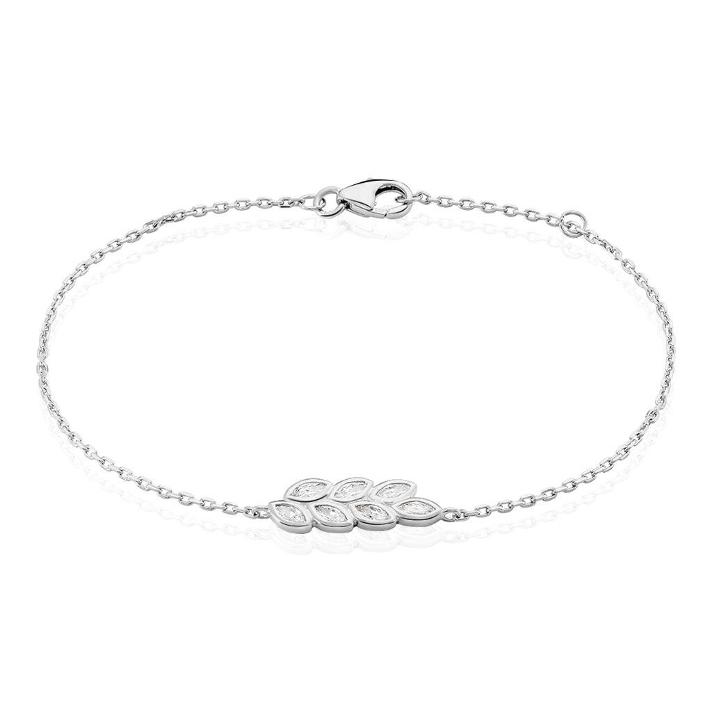 Bracelet Kalila Argent Blanc Oxyde De Zirconium - Bracelets Plume Femme | Histoire d'Or