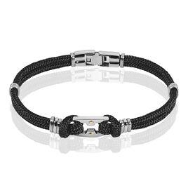 Bracelet Acier Cordons Noirs Et Or 21cm - Bracelets cordon Homme | Histoire d'Or