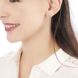 Boucles D'oreilles Pendantes Melodie Argent Blanc - Boucles d'oreilles fantaisie Femme   Histoire d'Or