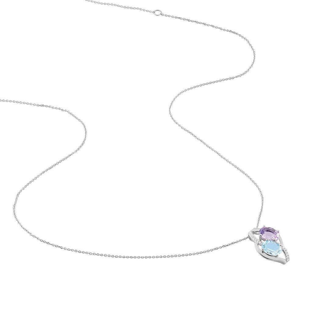 Collier Cassandre Or Blanc Amethyste Et Topaze Et Diamant - Bijoux Femme | Histoire d'Or