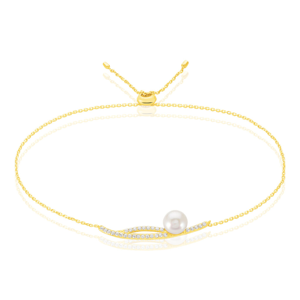 Bracelet Tesnimae Or Jaune Oxyde De Zirconium Et Perle De Culture - Bijoux Femme | Histoire d'Or