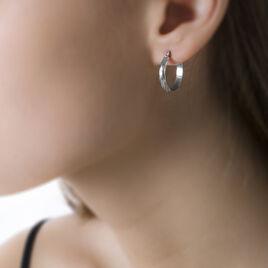 Créoles Ananas Demi Jonc Or Blanc - Boucles d'oreilles créoles Femme   Histoire d'Or