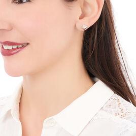 Boucles D'oreilles Puces Pyralia Argent Blanc - Boucles d'oreilles fantaisie Femme   Histoire d'Or