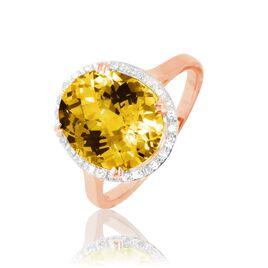 Bague Anna Or Rose Citrine Et Diamant - Bagues avec pierre Femme   Histoire d'Or