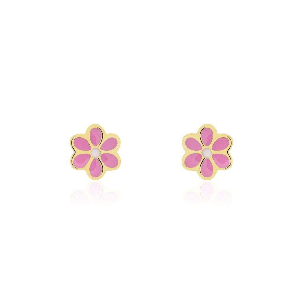Boucles D'oreilles Puces Talia Fleur Or Jaune - Clous d'oreilles Enfant   Histoire d'Or