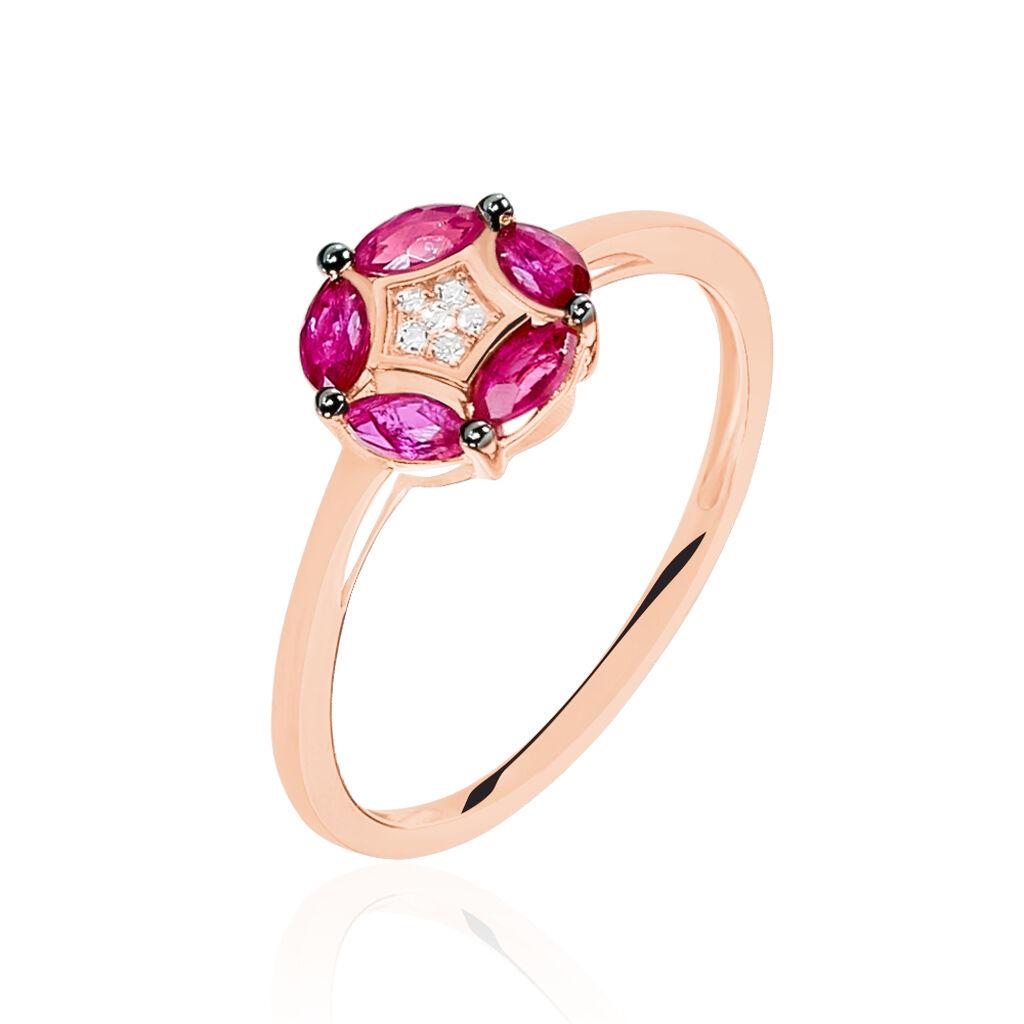 Bague Milana Or Rose Rubis Et Diamant - Bagues avec pierre Femme   Histoire d'Or
