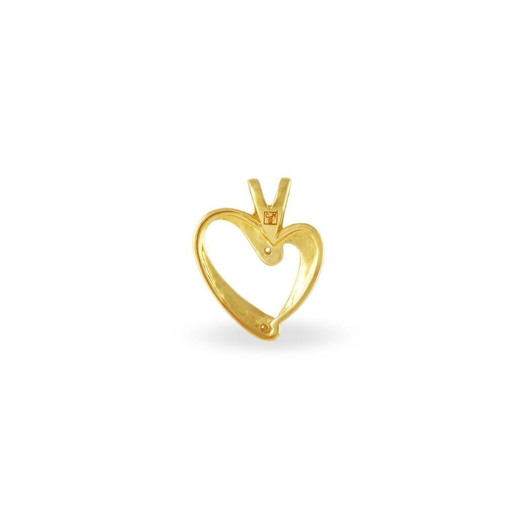 Pendentif Humaae Plaque Or Jaune Oxyde De Zirconium - Pendentifs Coeur Femme   Histoire d'Or