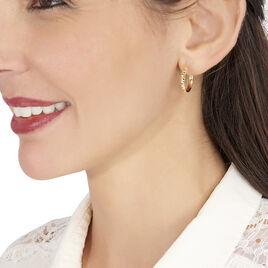 Créoles Sonia Diamantees Fil Rond Or Jaune - Boucles d'oreilles créoles Femme | Histoire d'Or