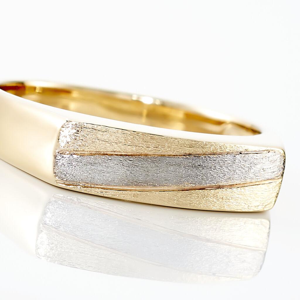 Chevalière Michel Plaque Or Bicolore - Chevalières Homme   Histoire d'Or