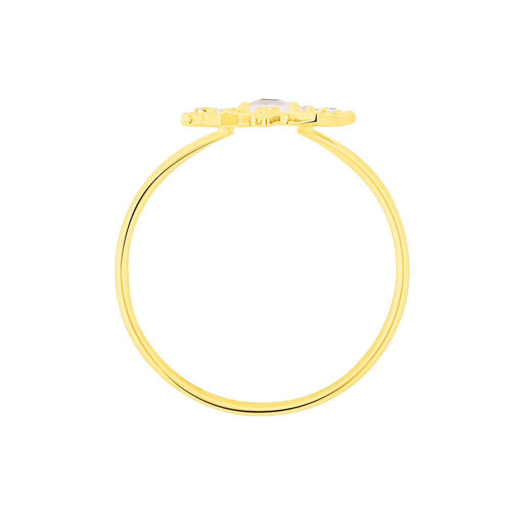 Bague Terry Or Jaune Calcedoine Et Oxyde De Zirconium - Bagues Etoile Femme | Histoire d'Or