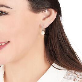 Boucles D'oreilles Pendantes Coria Argent Perle De Culture Et Oxyde - Boucles d'oreilles fantaisie Femme | Histoire d'Or