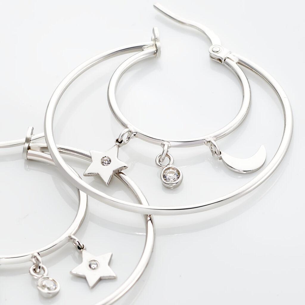 Créoles Violet Argent Blanc - Boucles d'Oreilles Etoile Femme   Histoire d'Or