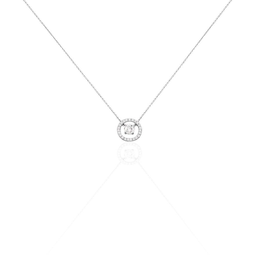 Collier Lucyna Or Blanc Oxyde De Zirconium - Bijoux Femme   Histoire d'Or