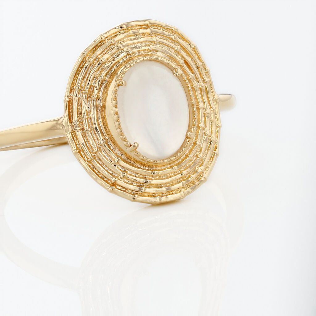 Bague Linna Plaque Or Jaune Pierre De Lune - Bagues avec pierre Femme | Histoire d'Or