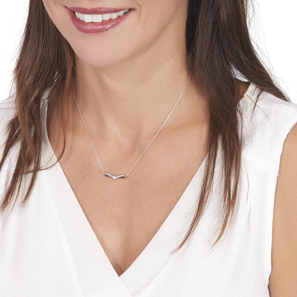 Collier Siriana Or Blanc Diamant - Bijoux Femme   Histoire d'Or