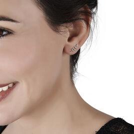 Boucles D'oreilles Puces Ael Or Jaune Oxyde De Zirconium - Boucles d'Oreilles Plume Femme | Histoire d'Or
