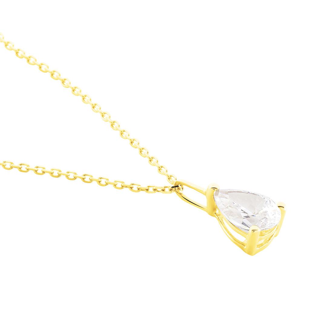 Collier Goutte Or Jaune Oxyde De Zirconium - Bijoux Femme   Histoire d'Or