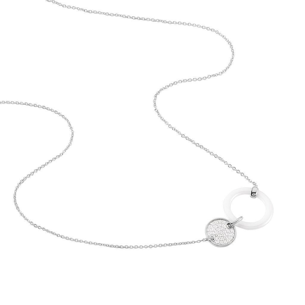 Collier Issara Argent Blanc Céramique Et Oxyde De Zirconium - Colliers fantaisie Femme | Histoire d'Or