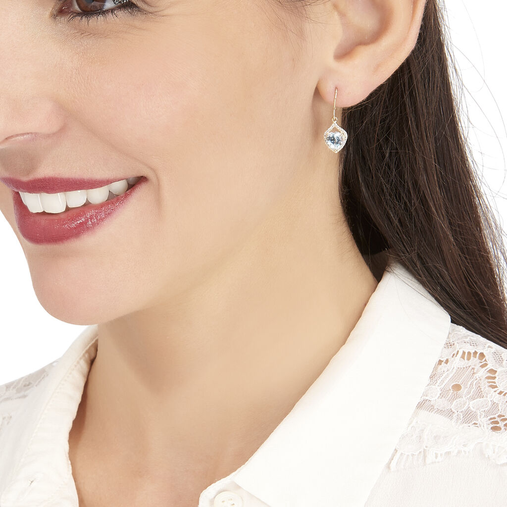 Boucles D'oreilles Pendantes Rosaline Or Jaune Topaze Et Oxyde - Boucles d'Oreilles Coeur Femme | Histoire d'Or