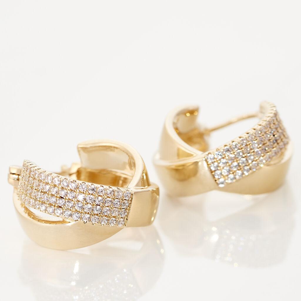 Créoles Adelicia Rondes Plaque Or Jaune Oxyde De Zirconium - Boucles d'oreilles créoles Femme   Histoire d'Or