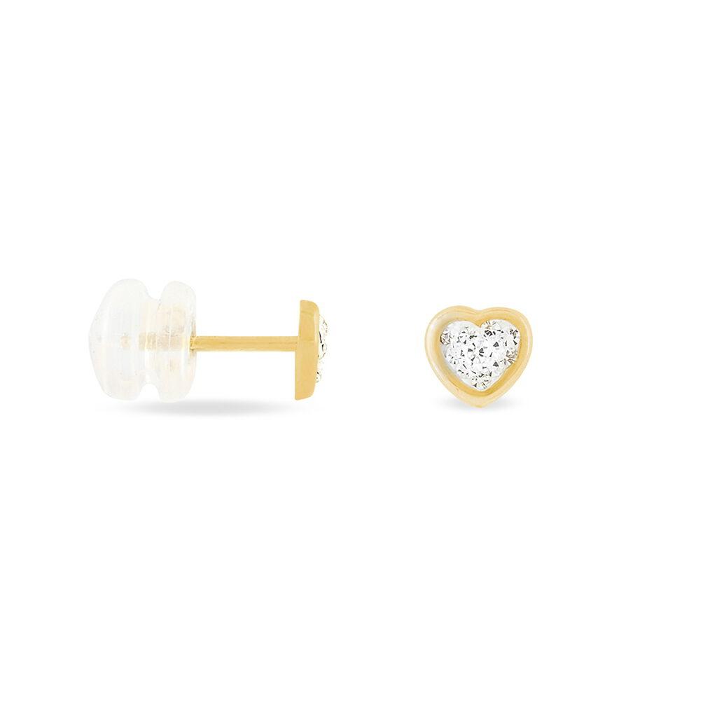 Boucles D'oreilles Puces Daria Cœur 0 Or Jaune Strass - Boucles d'Oreilles Coeur Femme | Histoire d'Or