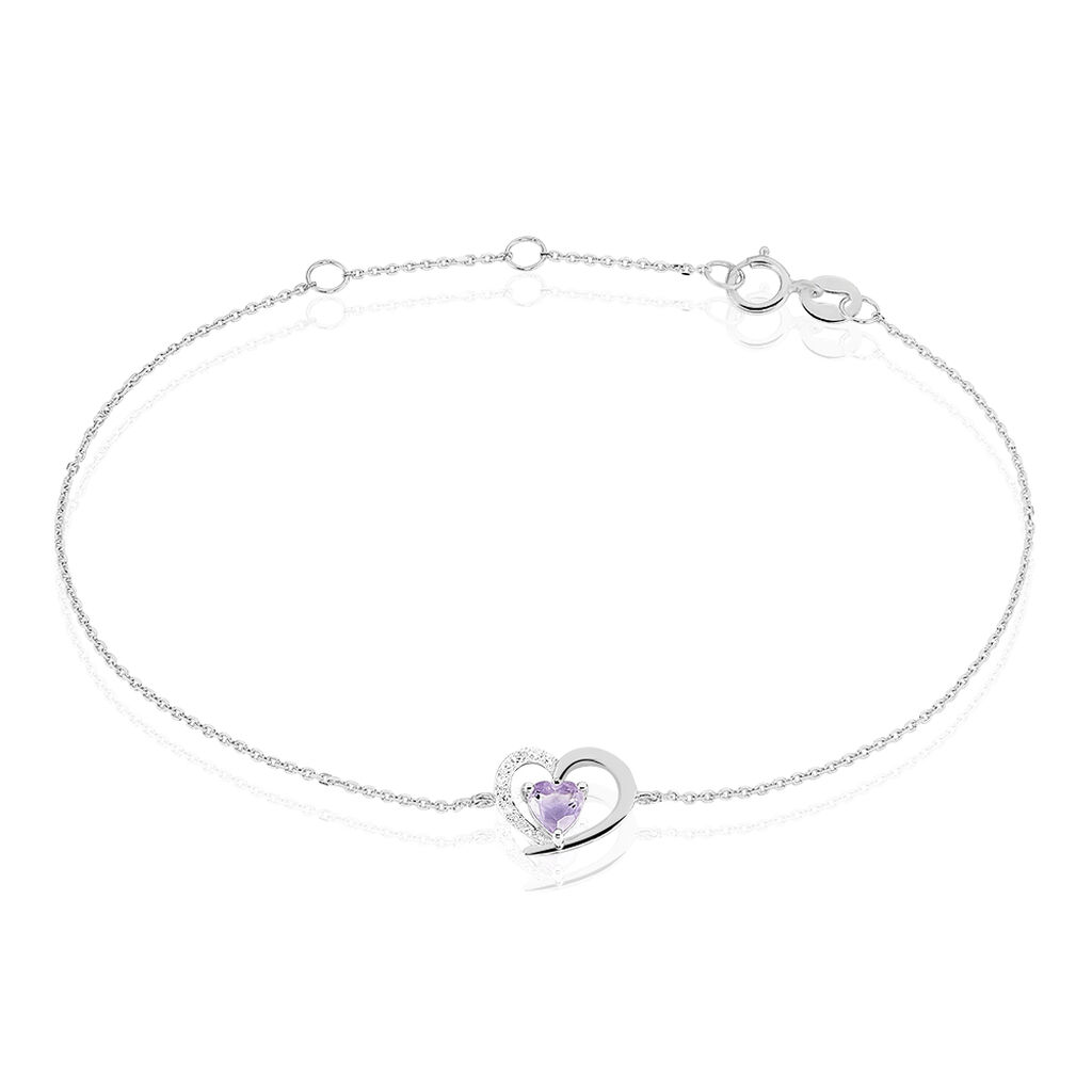 Bracelet Eliana Or Blanc Amethyste Et Oxyde De Zirconium - Bracelets Coeur Femme | Histoire d'Or