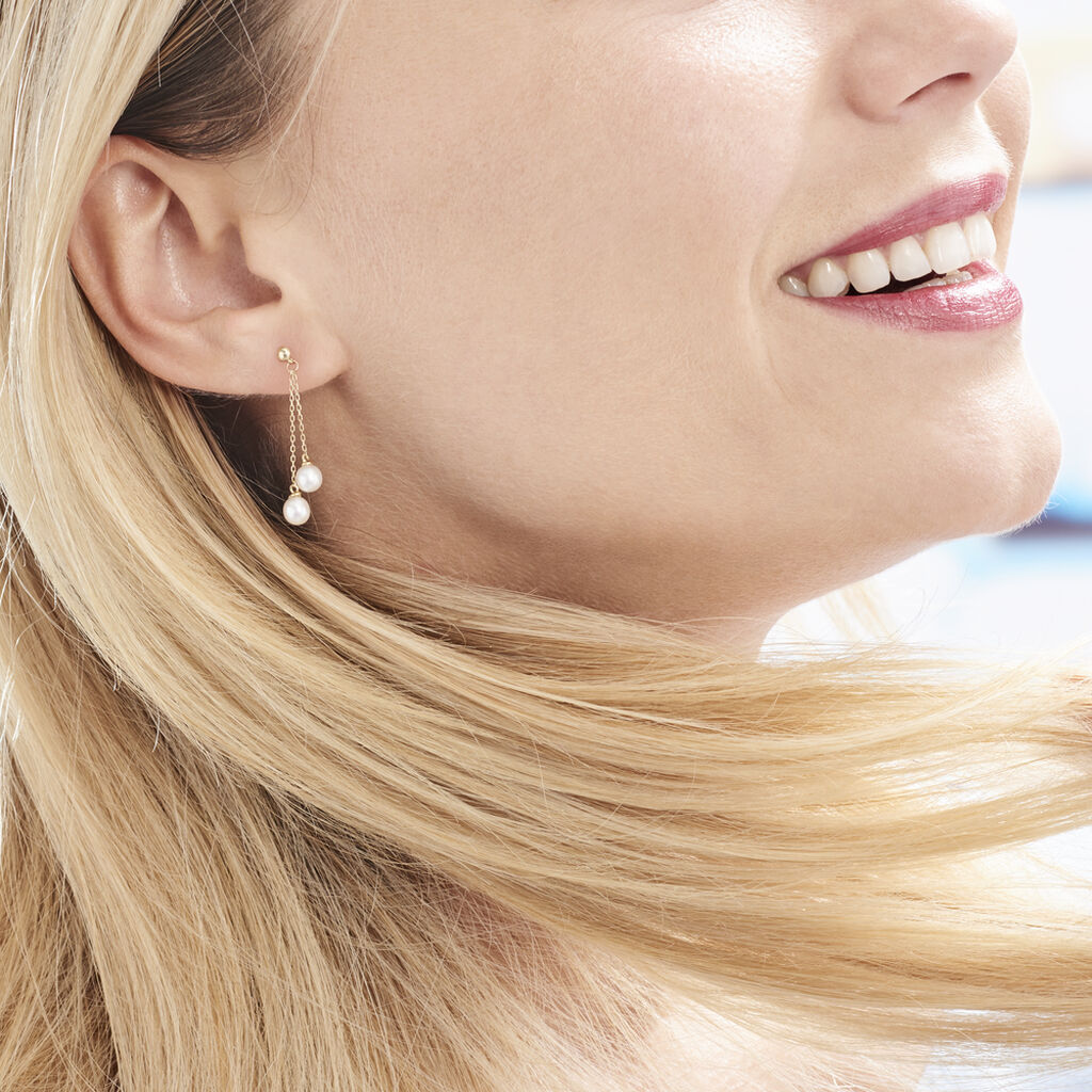 Boucles D'oreilles Pendantes Carrine 2 Fils Or Jaune Perle De Culture - Boucles d'oreilles pendantes Femme | Histoire d'Or