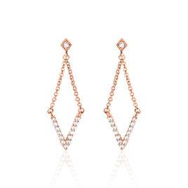 Boucles D'oreilles Pendantes Jillie Plaque Or Rose Oxyde De Zirconium - Boucles d'oreilles fantaisie Femme   Histoire d'Or