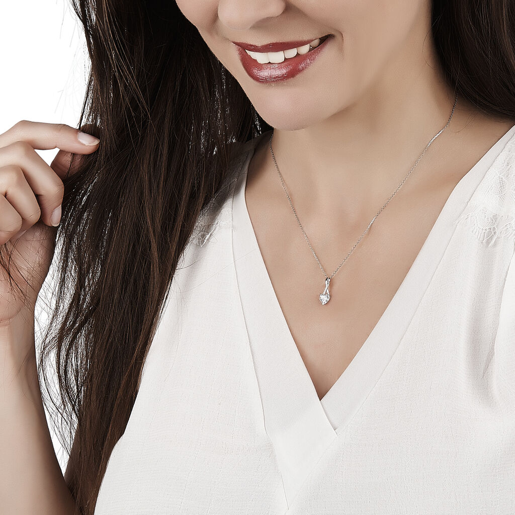 Collier Akli Or Blanc Oxyde De Zirconium - Colliers Coeur Femme   Histoire d'Or