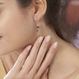 Boucles D'oreilles Pendantes Levannah Argent Blanc Ambre - Boucles d'oreilles fantaisie Femme | Histoire d'Or
