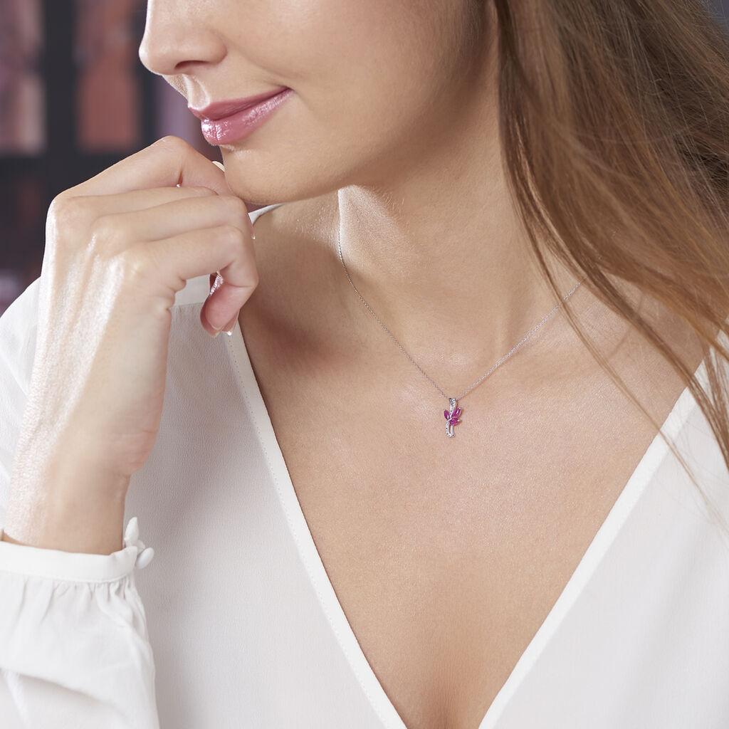 Collier Angie Or Blanc Diamant Et Rubis - Bijoux Femme   Histoire d'Or