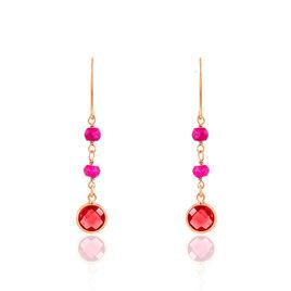 Boucles D'oreilles Argent Rose Rubis - Boucles d'oreilles fantaisie Femme | Histoire d'Or