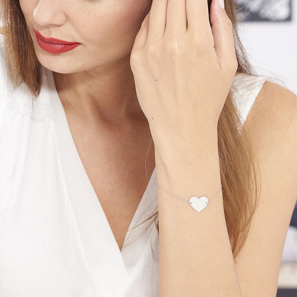 Bracelet Coeur Gravable Or Blanc - Bracelets Coeur Femme   Histoire d'Or