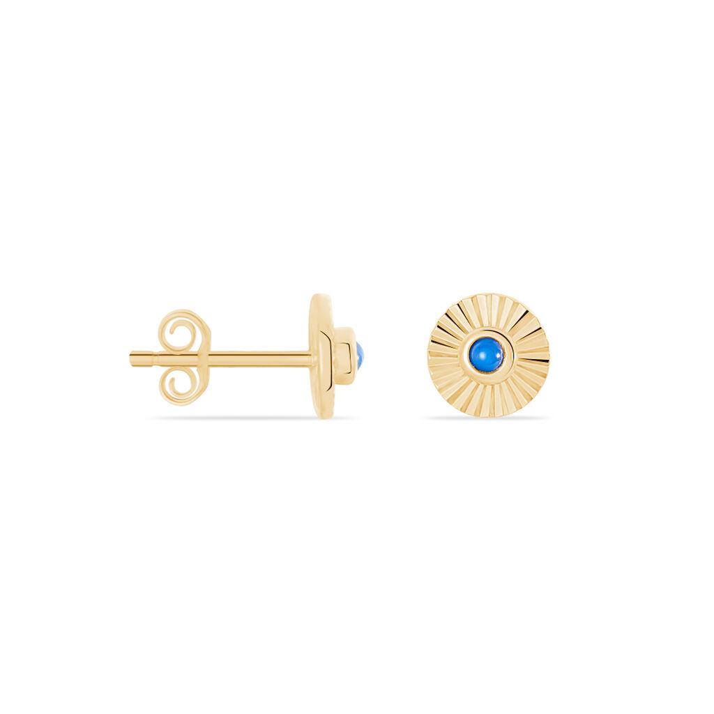 Boucles D'oreilles Puces Cartina Plaque Or Jaune Pierre De Synthese - Boucles d'oreilles fantaisie Femme | Histoire d'Or