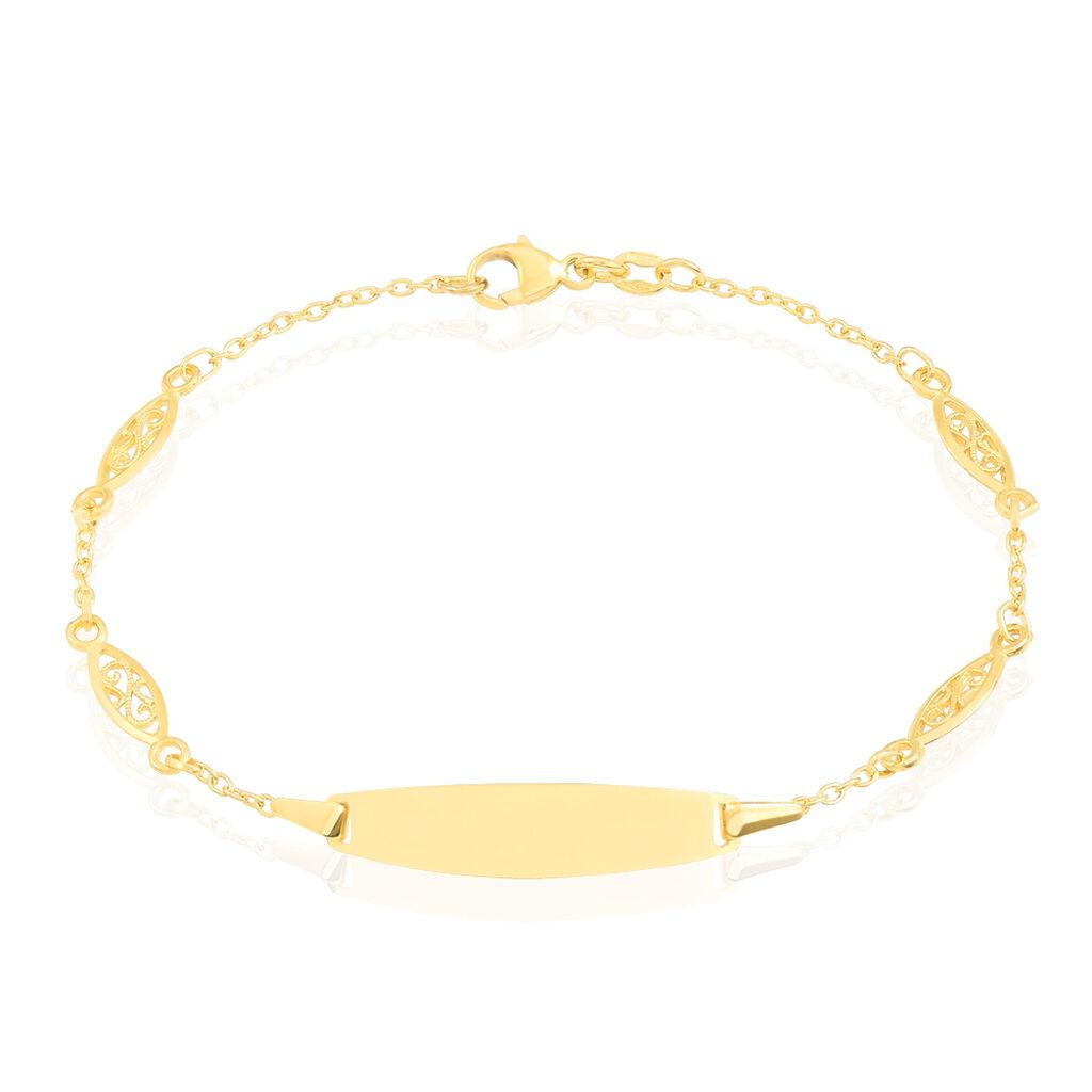 Bracelet Identité Eudoxie Maille Filigrane Or Jaune - Bracelets Communion Enfant   Histoire d'Or