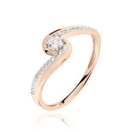 Bague Solitaire Sitan Or Rose Diamant - Bagues solitaires Femme   Histoire d'Or