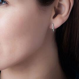 Boucles D'oreilles Puces Tokyo Or Blanc Pierre De Synthese - Boucles d'oreilles pendantes Femme | Histoire d'Or