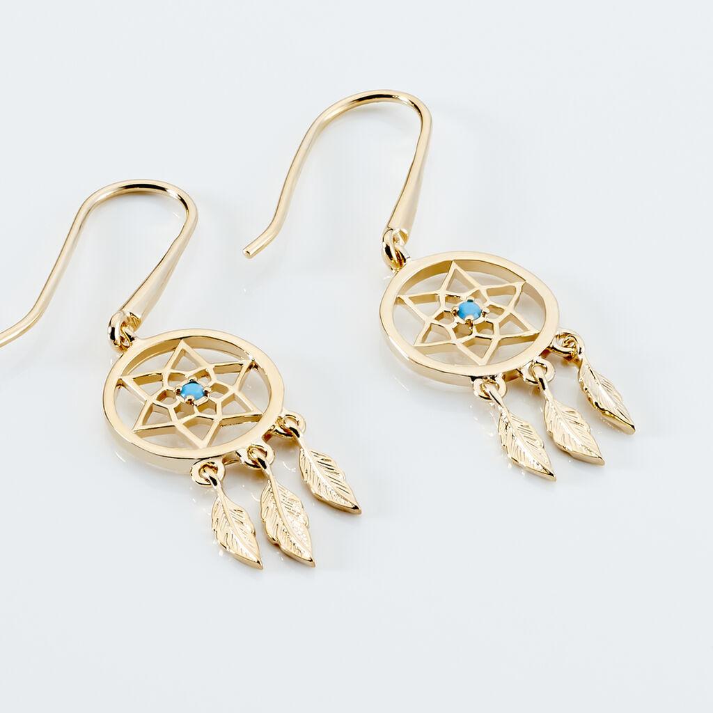 Boucles D'oreilles Pendantes Attrape Reves Plaque Or Pierre - Boucles d'Oreilles Attrape rêves Femme   Histoire d'Or