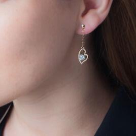 Boucles D'oreilles Pendantes Or Jaune Strass - Boucles d'Oreilles Coeur Femme | Histoire d'Or